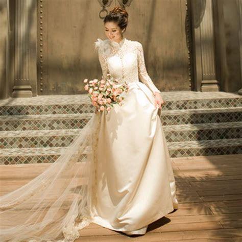 Turtleneck long sleeve lace wedding dress the royal bride