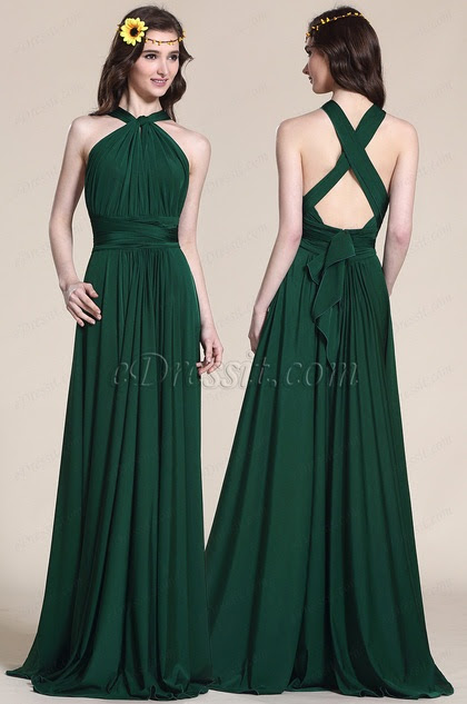 halter Convertible Dark Green Bridesmaid Dress