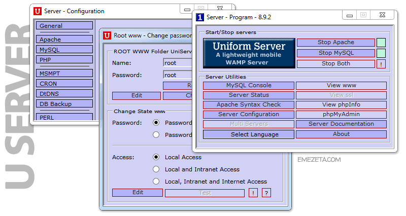 Uniform Server (Windows + Apache + MySQL + PHP)