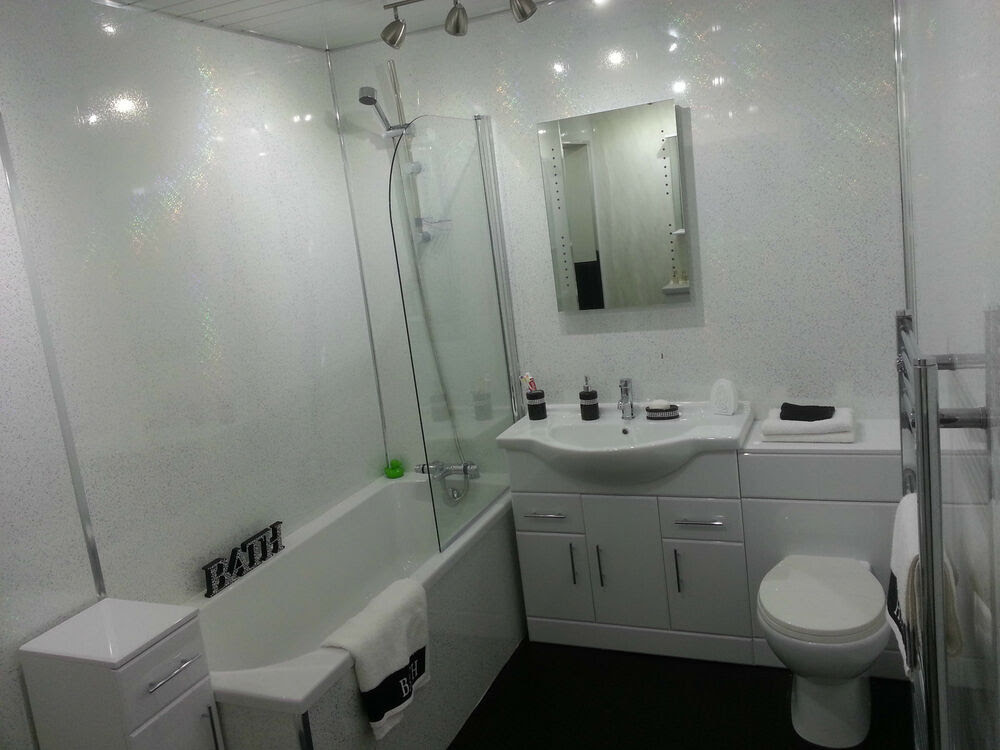 White Sparkle Bathroom Wall Panels Decorative PVC Shower ...