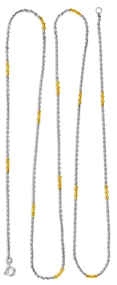 Foto 3, Platin-Ankerkette massiv, mit Gelbgold-Elementen Luxus!, K2920