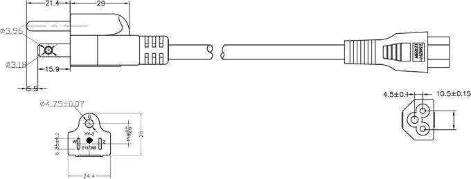Nema 5 15p Plug To Iec 60320 C5 Laptop Power Cord