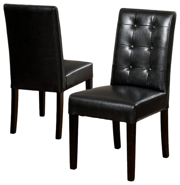 Gillian Black Leather Dining Chair (Set of 2) - Modern ...
