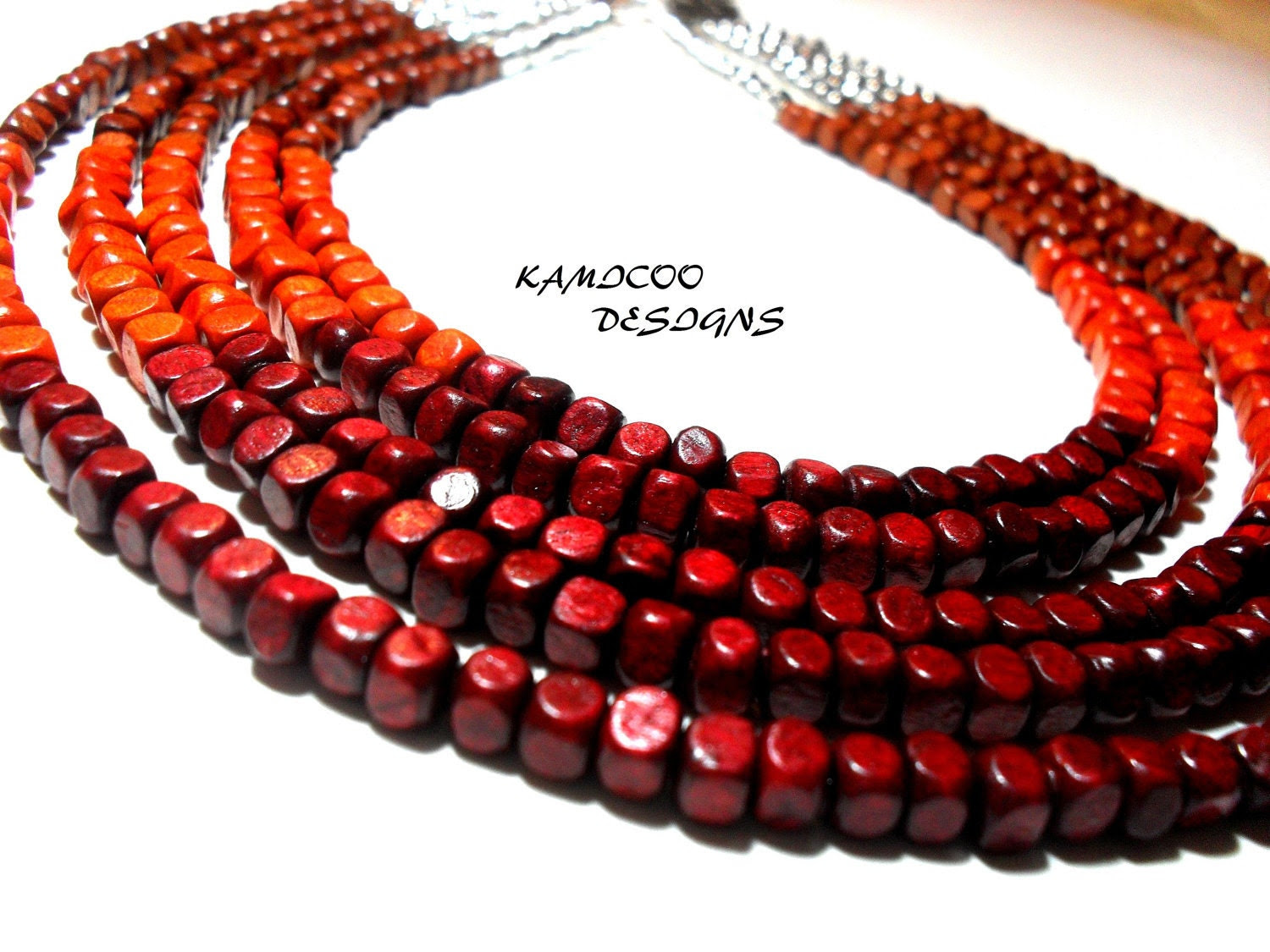 Ethnic 5 Strand Wood Beaded Necklace in Red/Orange/Brown