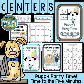 http://www.teacherspayteachers.com/Product/Telling-Time-Center-Game-Puppys-Party-Time-537174