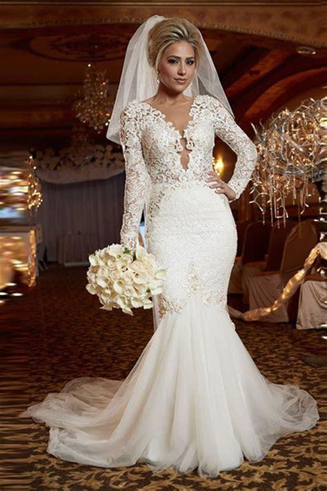 Scoop Long Sleeve Lace Wedding Dress Online Mermaid