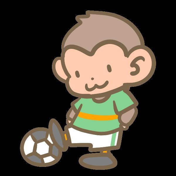サッカーをする猿緑のイラスト かわいいフリー素材が無料の