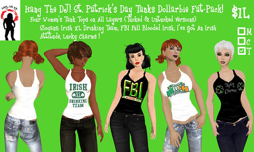 .-*-. HANG THE DJ! .-*-.  Women's St. Patrick's Day Dollarbies - 4 Shirt Fat-Packs! YAY!