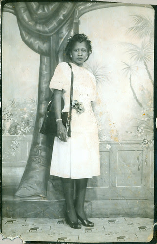 Woman at photo studio standing