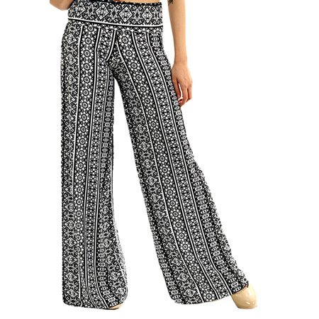 UPTOWN APPAREL NEW Womens Fold Over Waist Wide Leg Palazzo Pants
