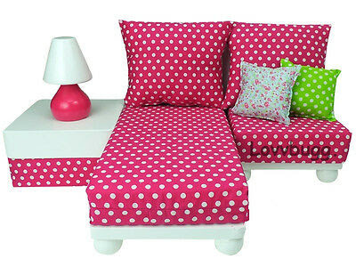 Pink Chaise Lounge Chair Love Seat Girl Doll Furniture Set