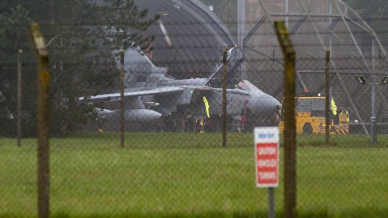A British Royal Air Force Tornado GR4 Multirole aircraft, strike aircraft being worked on at RAF Marham in Norfolk eastern England, 13 April 2018. EPA, JASON BYE