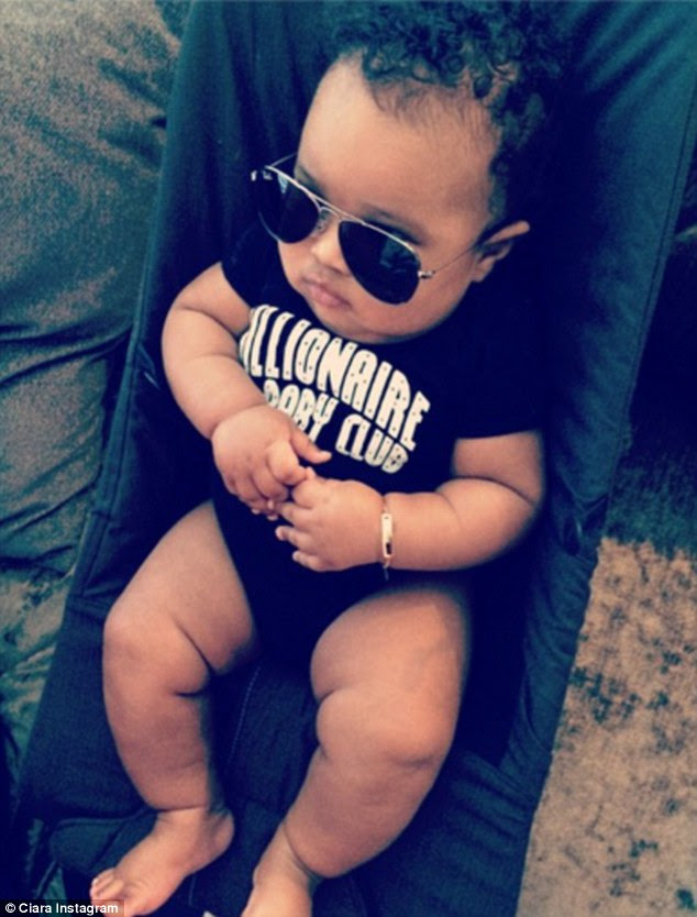 'Zonin': Ciara shared this photo of her three-month-old son Future Zahir on her Instagram account on Thursday