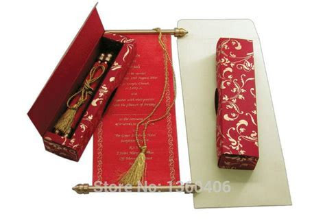 Chinese Red Scroll Invitation Cards Wedding Invitations