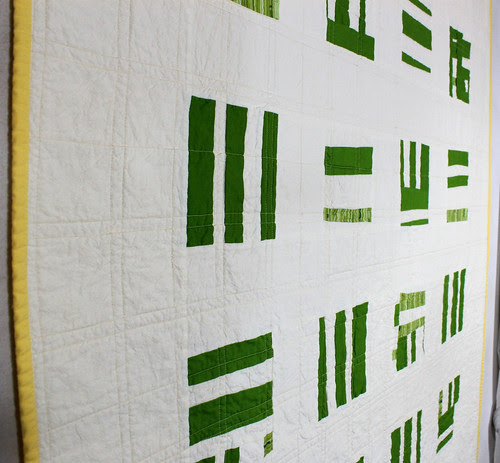 Basketweave quilt in green and yellow
