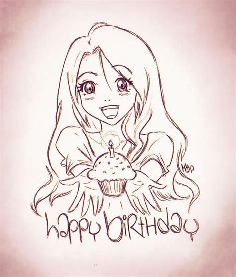 birthday anime girl doodle  ladyinsilver  deviantart