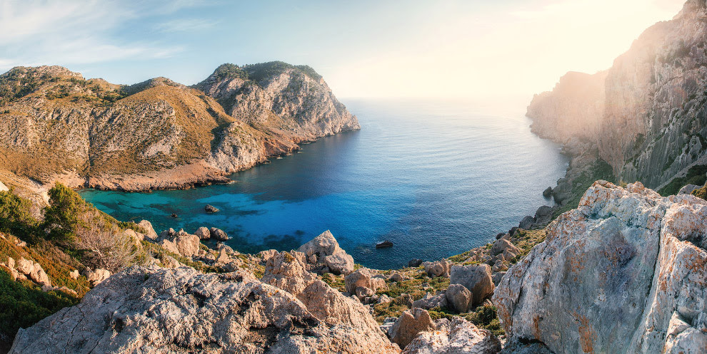 View of thel bay of Cape Formentor with azure water Mallorca, Spain