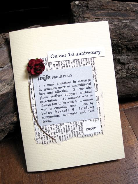 1st Anniversary Card Wife Definition First Wedding Anniversary