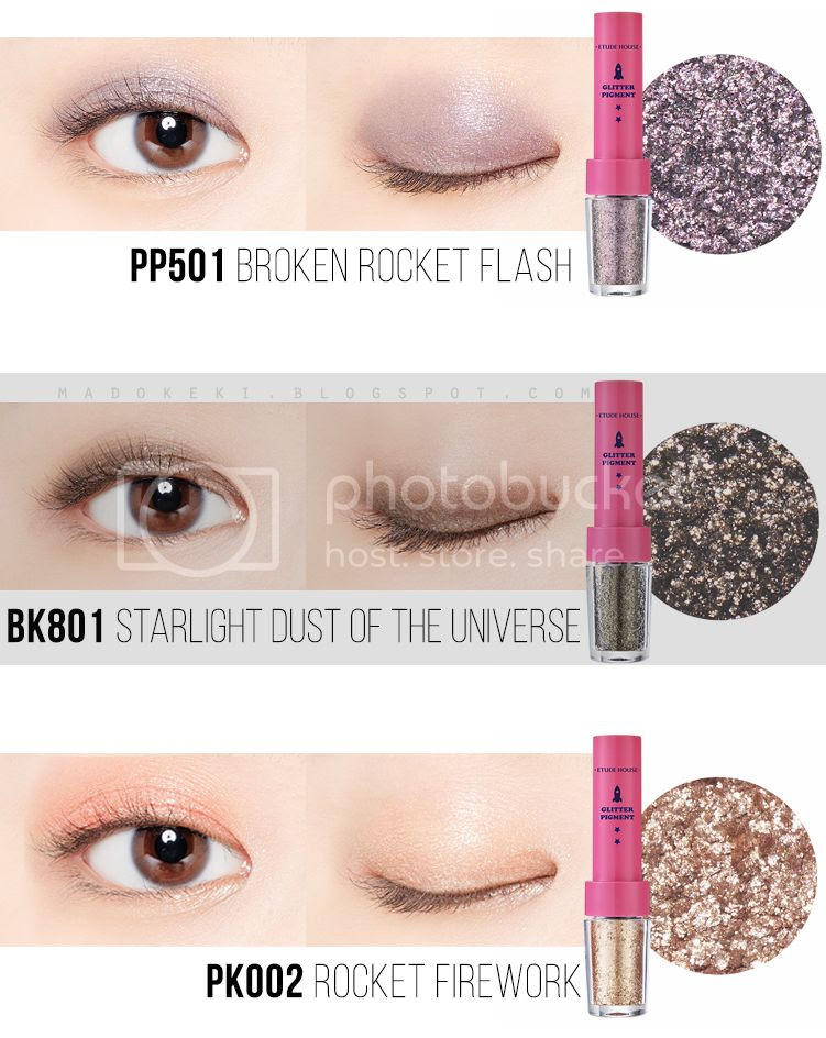 etude house UNIVERSE GLITTER PIGMENT swatches