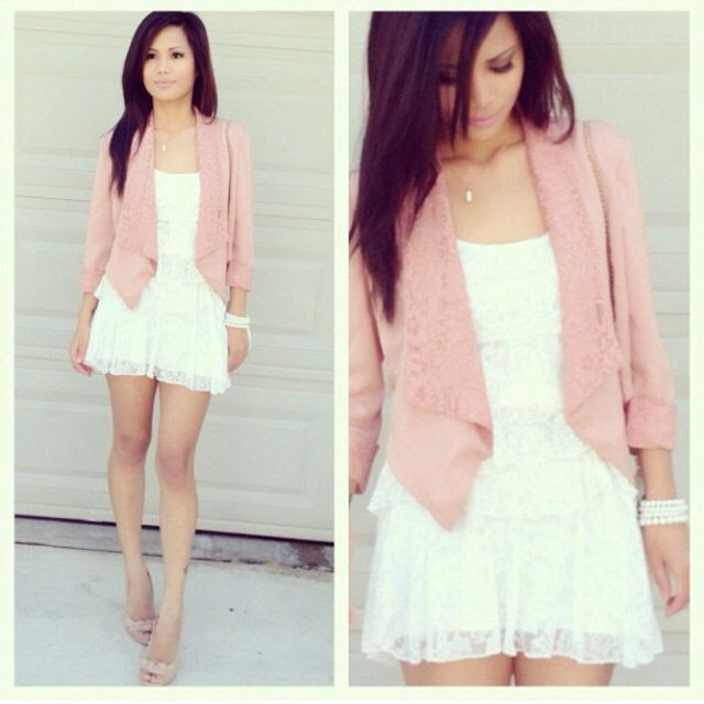 White dress, light pink blazer outfit