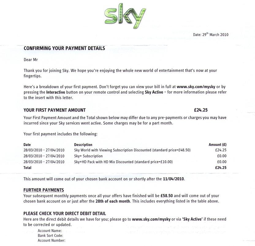 When you take out a new contract with Sky either upon joining Sky or ...