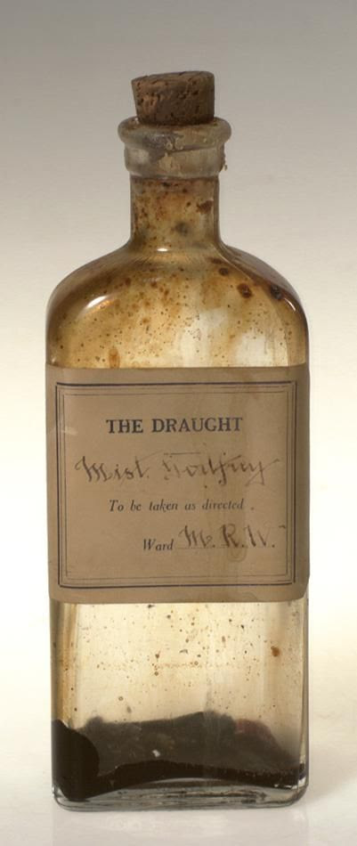 Bottle of Godfrey's Mixture used in the pharmacy of a mental health hospital in Victoria Australia circa 1860. It contained laudenum (an opiate) and treacle and was used as a sedative. Collection: Museum Victoria