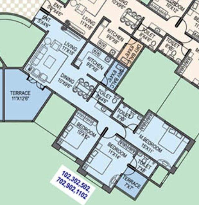 Paranjape Schemes' Gloria Grace E Wing 3 BHK Flat 1060 Carpet + 210 Terrace For Rs. 77.56 Lakhs