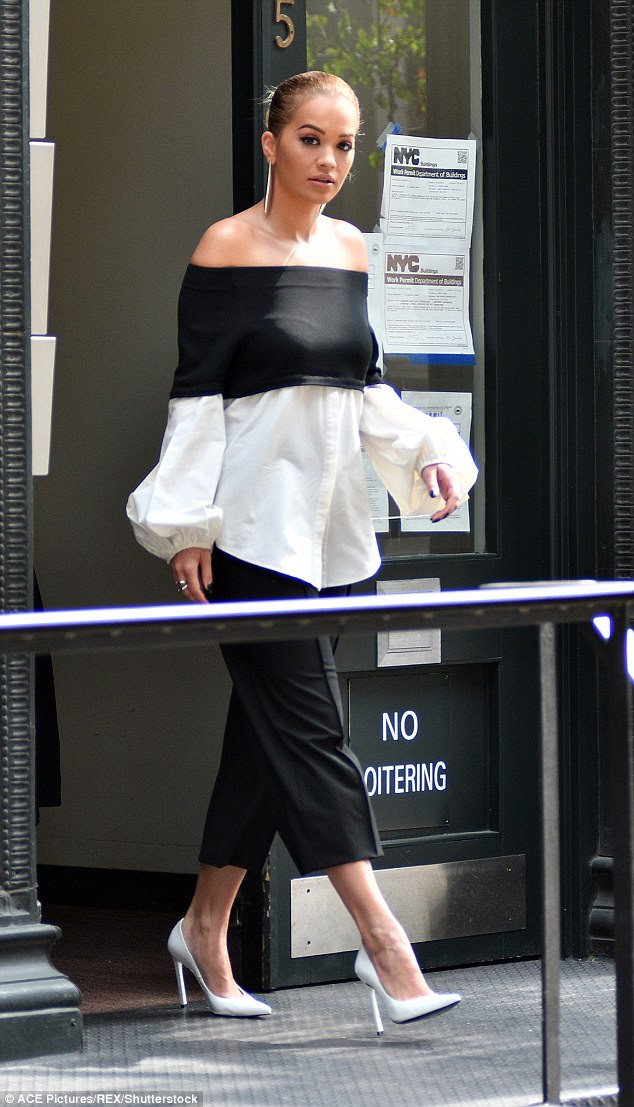 Fashionista: Rita was once again making a strong sartorial statement for filming in her monochrome ensemble