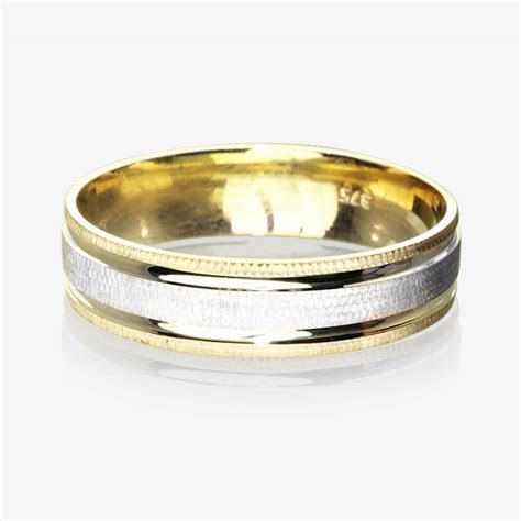 9ct Gold 2 Colour Luxury Weight Mens Wedding Ring 5.5mm