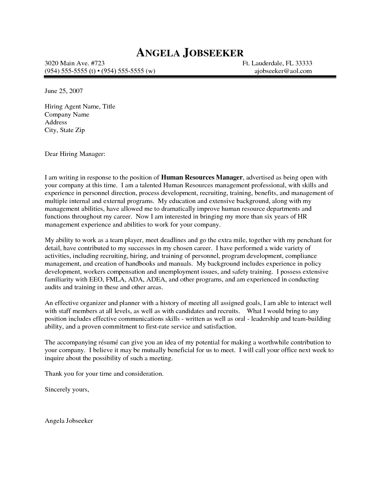 Cover Letter Addressed To Sample Cover Letter