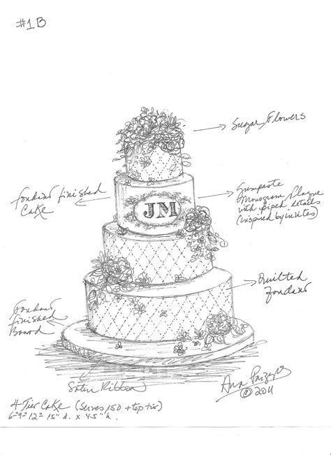 Dodds Custom Wedding Cake Sketch   Jessica and Michael
