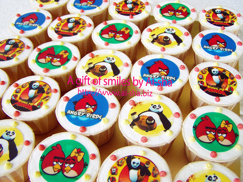 Cupcakes Edible Image Kungfu Panda & Angry Birds