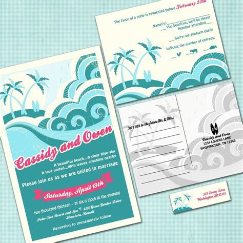 Custom Hawaiian Wedding Invitation Suite with RSVP