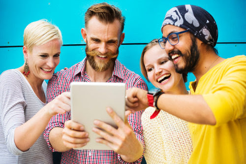 Collagues using social media