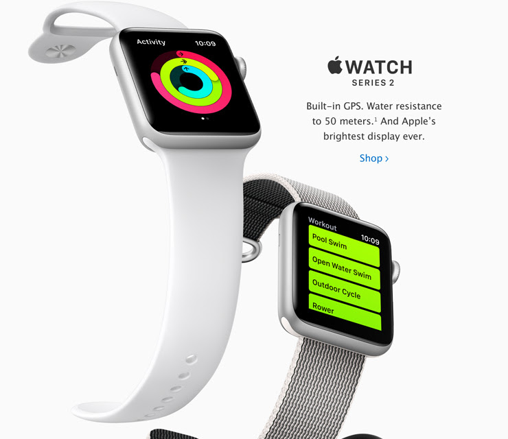 Apple Watch Series 2. Built-in GPS. Water resistant 50m. And Apple's brightest display ever.