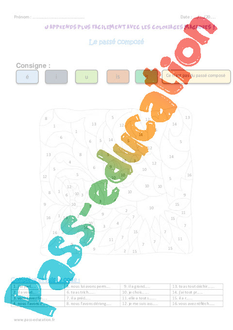 Passé Composé Ce2 Coloriage Magique Pass Education
