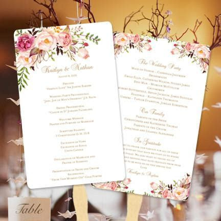 Wedding Program Fan Romantic Blossoms DIY Ceremony Program