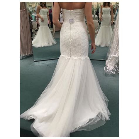 David's Bridal Ivory Lace & Tulle Strapless Trumpet with