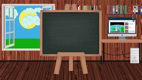 Cartoon Blackboard in a Children Classroom with a School
