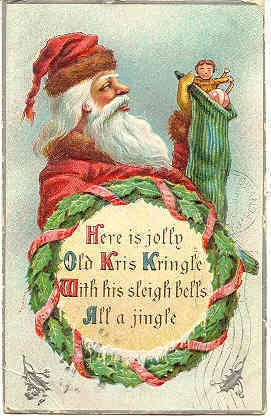""""""" Jolly Old Kris Kringle """", Vintage 1910 Post Card. An extremely RARE Kris Kringle Christmas Post Card with an embossed surface, DB-USD-PM 1910 with a tiny flake of the silver edging at top right, and in Very Good condition. Karodens Vintage Post Cards at www.bonanza.com/booths/karoden"""