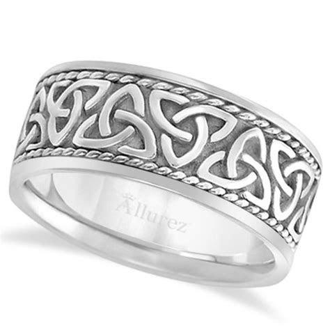 Men's Hand Made Celtic Irish Wedding Band 18k White Gold