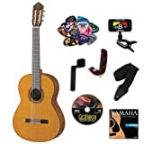 Yamaha CG162C Classical Guitar BUNDLE w/ Legacy Accessory Kit (Tuner, DVD, Picks, Capo and More)