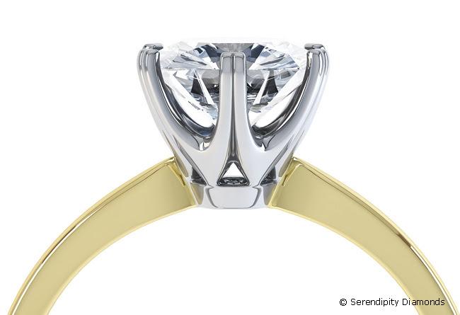 Rex Setting - adoptado por los seis garra anillo de compromiso de estilo de Tiffany de R1D077