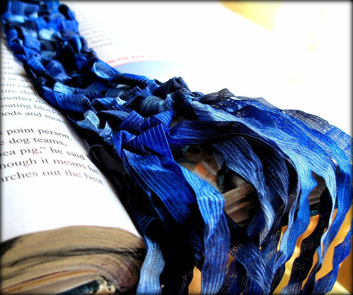 Crocheted Scarf - blue ribbon All Skinny Scarves Are Buy One Get One Half Off