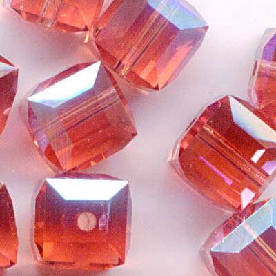 27756011264542 Swarovski Bead - 6 mm Faceted Cube (5601) - Padparadscha ABB (1)
