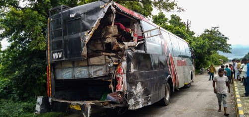 18 migrants dead as truck collides with stranded bus in UP