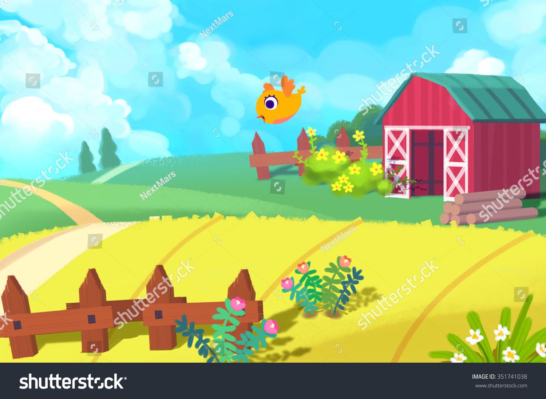 stock photo illustration the cute farm realistic fantastic cartoon style artwork story scene wallpaper 351741038