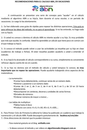 Recomendaciones para el cálculo ABN en vacaciones