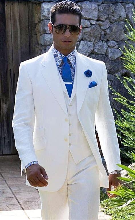 2018 Summer White Linen Suit Men Blazer Designs Beach