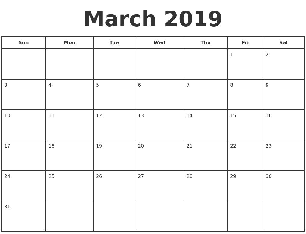 march 2019 print a calendar